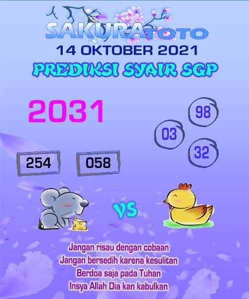 Syair Sakuratoto SGP Kamis 14 Oktober 2021