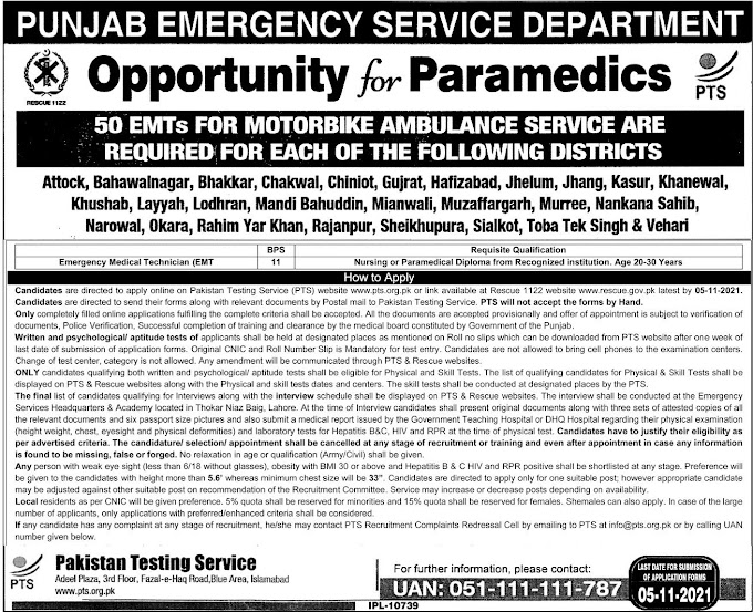 Rescue 1122 Jobs 2021 Punjab Emergency Services