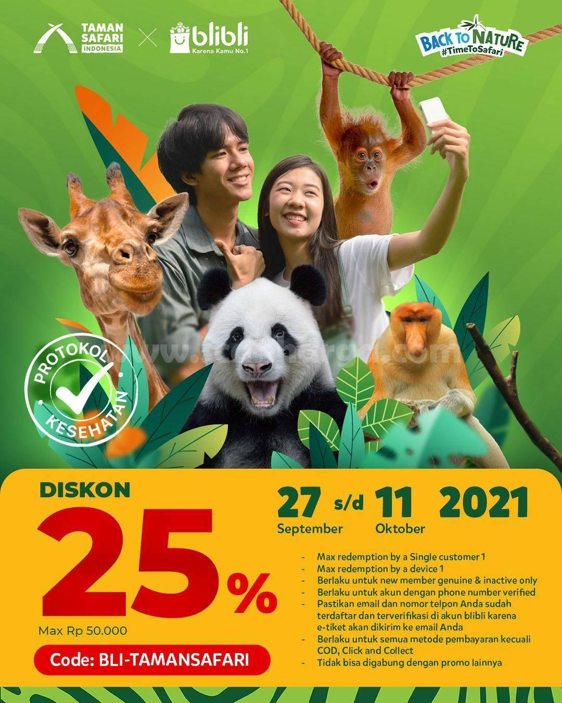 Promo Taman Safari X Blibli Harga Tiket Diskon 25%