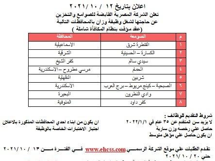 أخر اعلان وظائف الشركة المصرية القابضة للصوامع والتخزين لعام 2021-2022 بالاوراق المطلوبة وشروط التقديم الموقع الرسمي www.ehcss.com للتسجيل