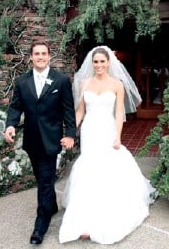Kyle Brandt and his wife Brooke Brandt in their wedding dress