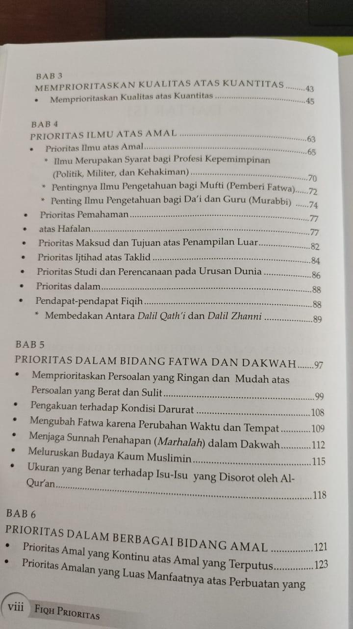 Daftar isi buku Fiqh Prioritas - Dr. Yusuf Al Qaradhawi (2)