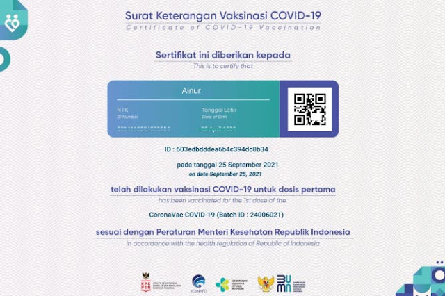 Contoh sertifikat vaksin
