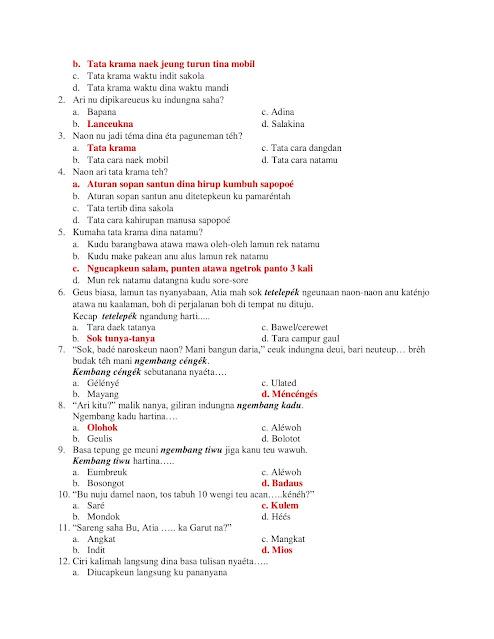 30+ Soal PTS Bahasa Sunda Kelas 7 Kurikulum 2013 + Jawaban
