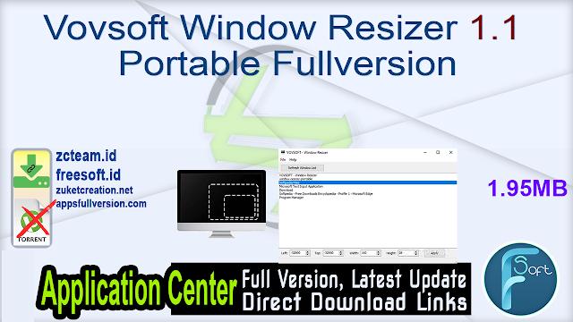 Vovsoft Window Resizer 1.1 Portable Fullversion