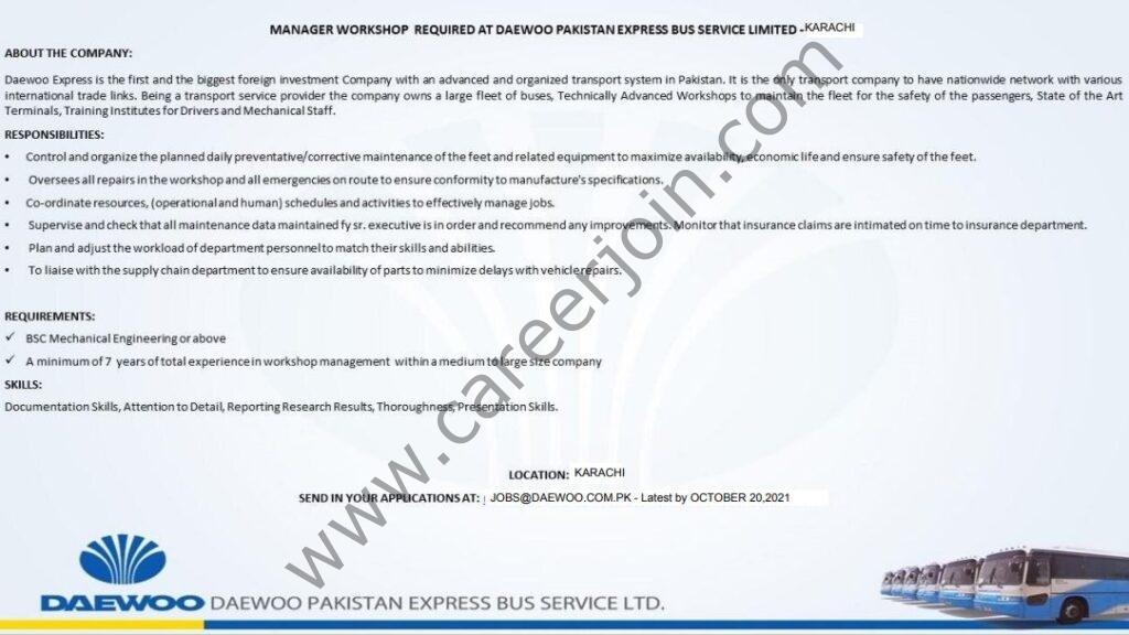 jobs@daewoo.com.pk - DPEBSL Daewoo Pakistan Express Bus Service Limited Jobs 2021 in Pakistan
