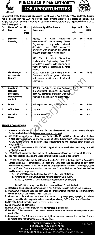 Punjab Aab e Pak Authority PAPA Latest  Jobs October 2021