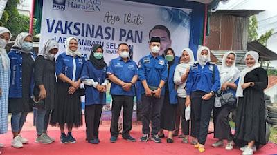 DPR RI Saleh Partaonan Daulay Bersama PAN Labusel Gelar Vaksinasi 1000 orang.