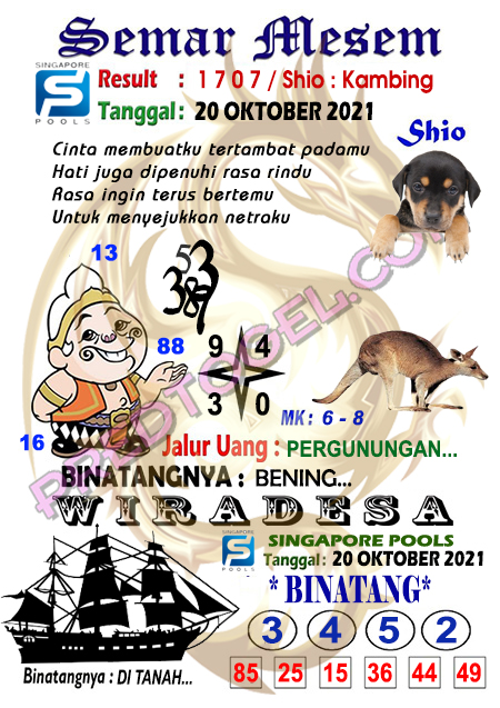 Syair Semar Mesem SGP Rabu 20-Oktober-2021