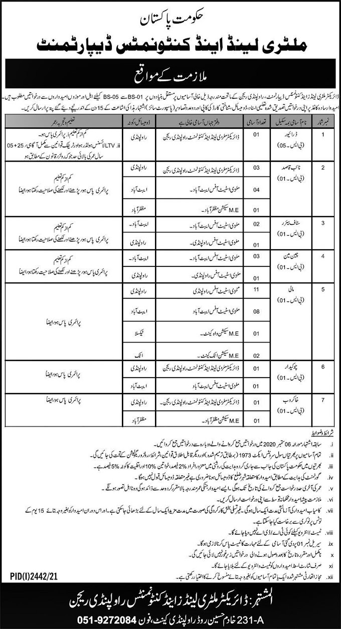 Military Lands and Cantonments Department Rawalpindi Jobs 2021