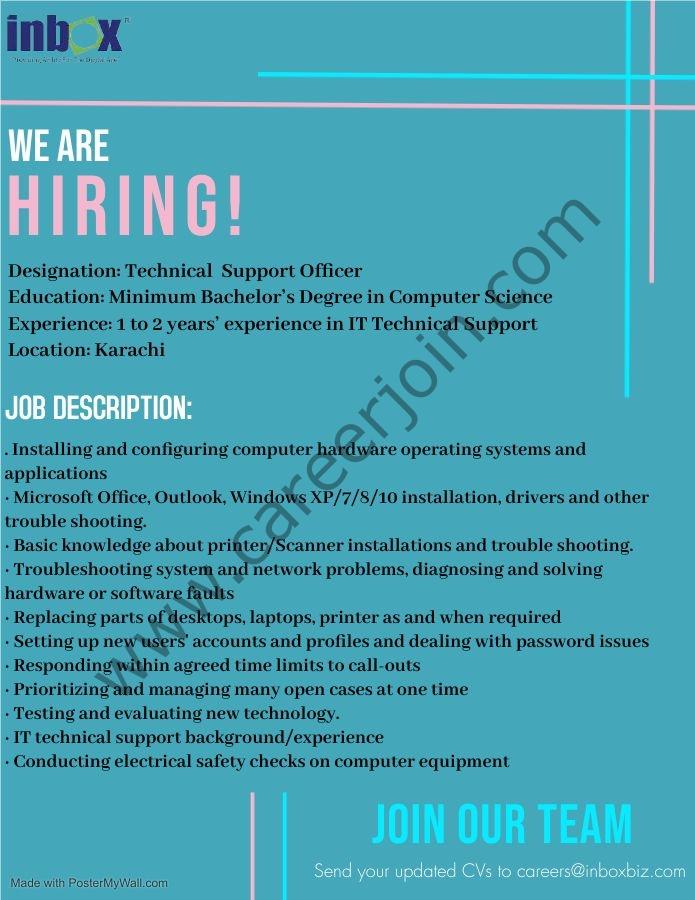 Inbox Technologies Jobs Technical Support Officer