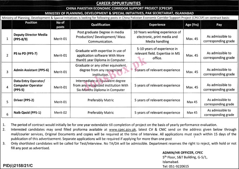 www.cpec.gov.pk - CPEC China Pakistan Economic Corridor Jobs 2021 in Pakistan