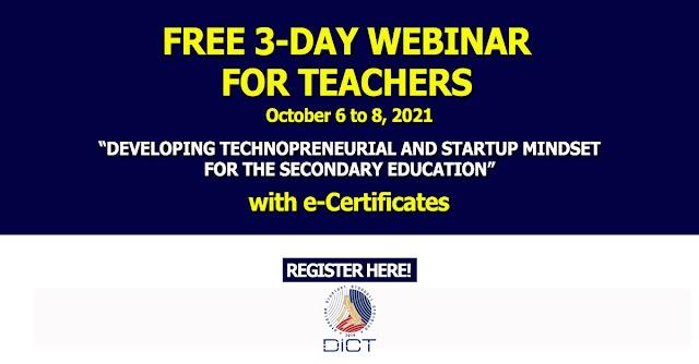 FREE 3-DAY WEBINAR FOR TEACHERS ON 𝐃𝐄𝐕𝐄𝐋𝐎𝐏𝐈𝐍𝐆 𝐓𝐄𝐂𝐇𝐍𝐎𝐏𝐑𝐄𝐍𝐄𝐔𝐑𝐈𝐀𝐋 𝐀𝐍𝐃 𝐒𝐓𝐀𝐑𝐓𝐔𝐏 𝐌𝐈𝐍𝐃𝐒𝐄𝐓 𝐅𝐎𝐑 𝐓𝐇𝐄 𝐒𝐄𝐂𝐎𝐍𝐃𝐀𝐑𝐘 𝐄𝐃𝐔𝐂𝐀𝐓𝐈𝐎𝐍
