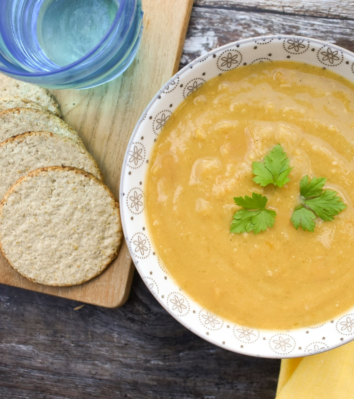 Yellow split pea soup served with oatcakes
