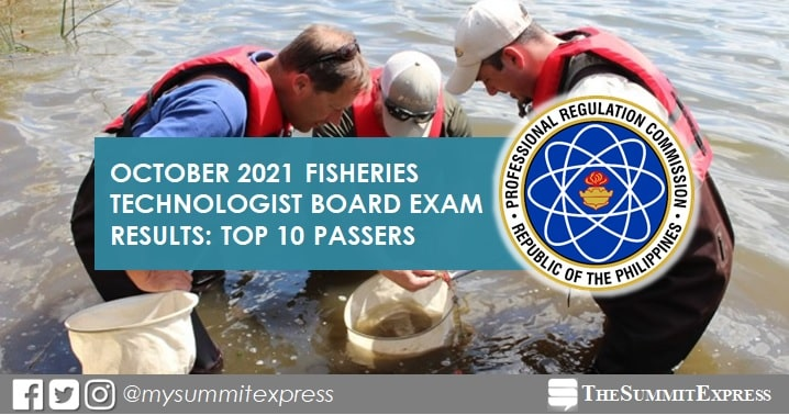 RESULT: October 2021 Fisheries Technology board exam top 10 passers