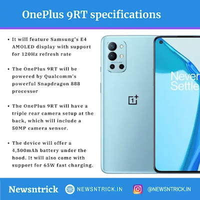 OnePlus 9RT specifications and some Facts about it | Tech Newsntrick