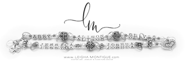 Abby, Alison, Olivia, Jessica, Joshua Mother's Charm Bracelets - Heart within a Heart within a Heart and Shamrock Charms