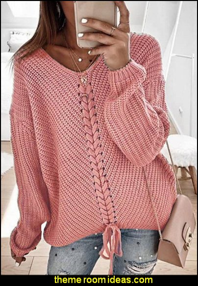 Womens Pullover Sweater Knitted  Cardigans V Neck  Blushing jumper