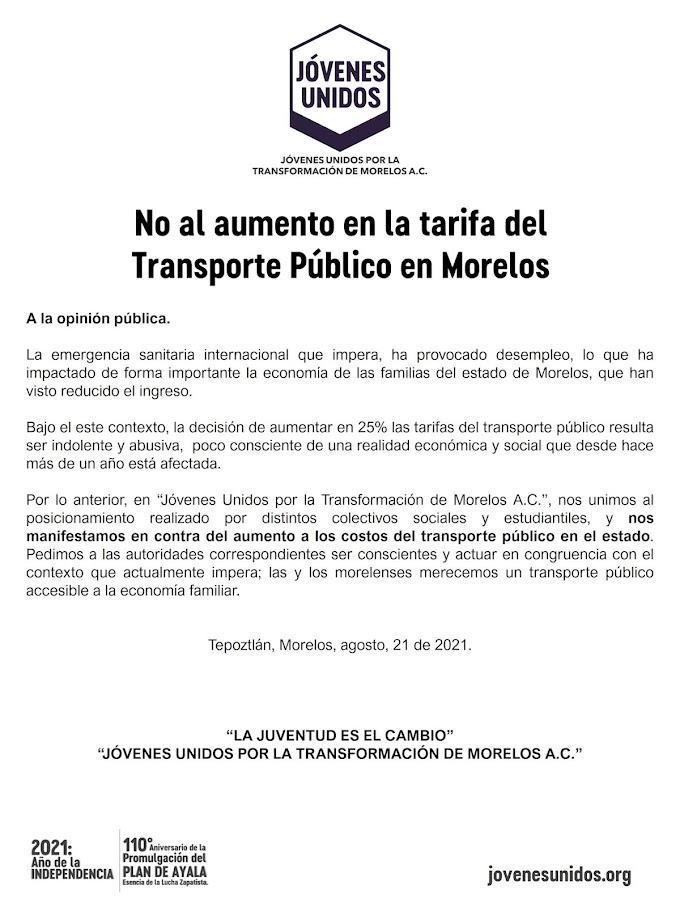 Posicionamiento, respecto del aumento en las tarifas del transporte público en el estado de Morelos