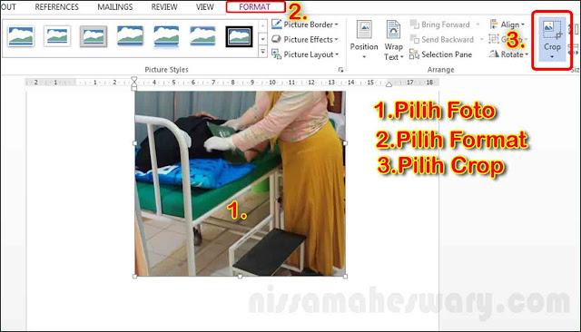 cara crop atau memotong foto gambar di ms word