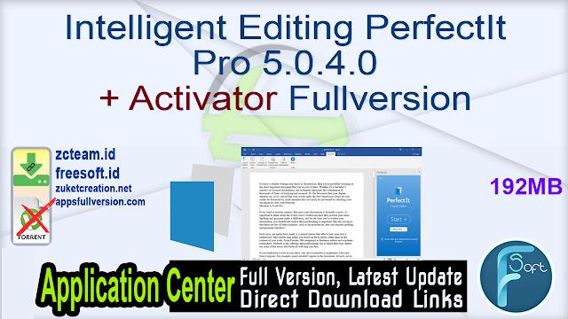 Intelligent Editing PerfectIt Pro 5.0.4.0 + Activator Fullversion