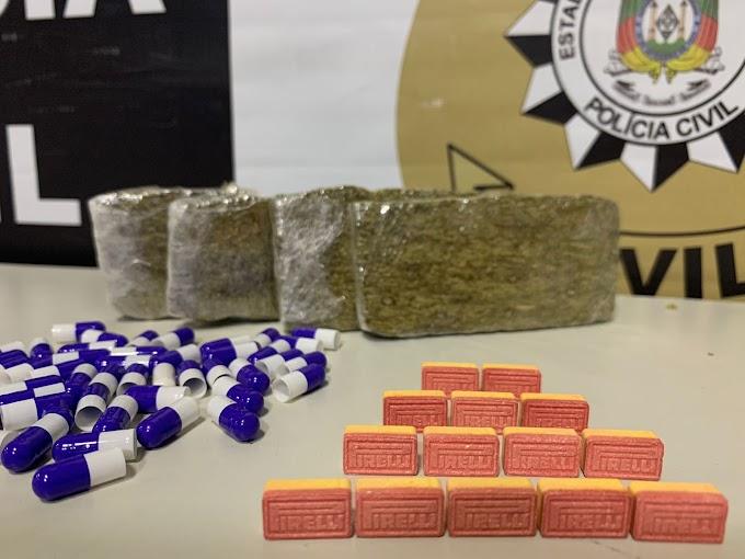 Policia Civil realiza prisão e apreensão de drogas em Gravataí
