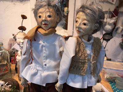 Two girl puppets made by Corina Duyn - Puppet Making course