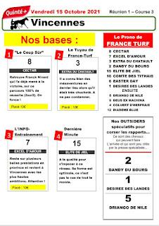 quinté+ Pronostic quinté vendredi 15/10/2021
