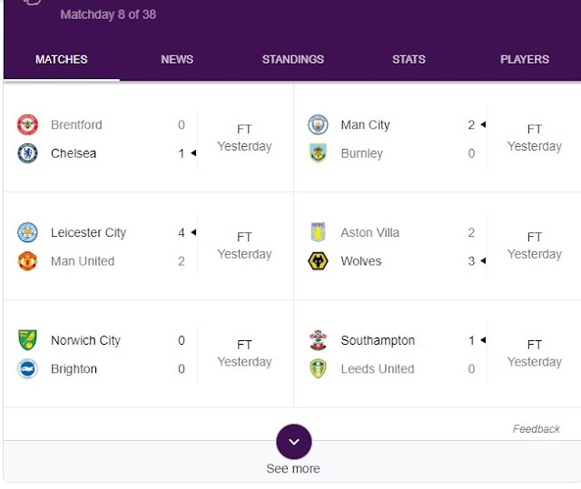 Premier League Today's Result -  Football News, Fixtures, Scores & Results