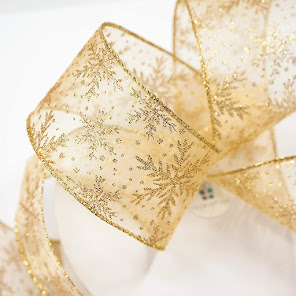 Gold Sheer Wired Ribbon For Home Decorations and Crafts