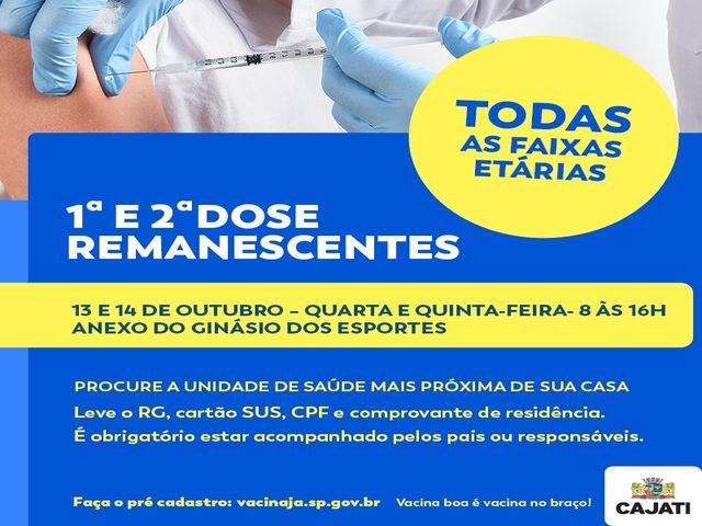Campanha de Vacinação contra a Covid-19 para os remanescentes - 13 e 14/10 em Cajati