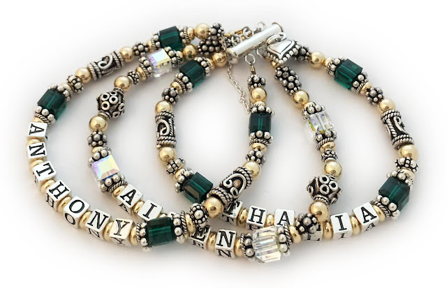 ANTHONY/May - AIDEN/Apr - THALIA/May This Gold & Bali Message Bracelet is shown on a 3-string slide clasp with a catch chain and an add-on: Beaded Heart Charm
