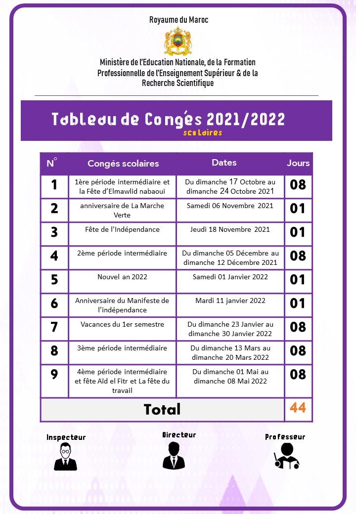 لائحة العطل المدرسية بالفرنسية لموسم 2021/2022 في حلة مهنية رائعة
