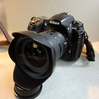 Nikon D300 camera with wide angle lens attached