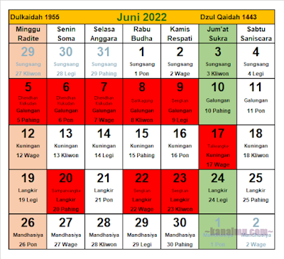 kalender jawa bulan juni 2022 - kanalmu