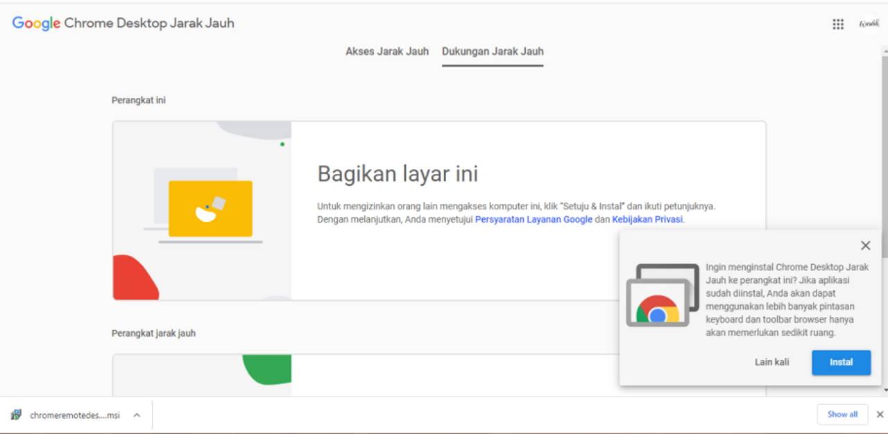 Chrome Desktop Jarak Jauh