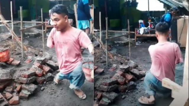 Viral Kuli Bangunan Punya Kaki Tangan Tak Sempurna Gesit Bekerja, Netizen Malu Mengeluh