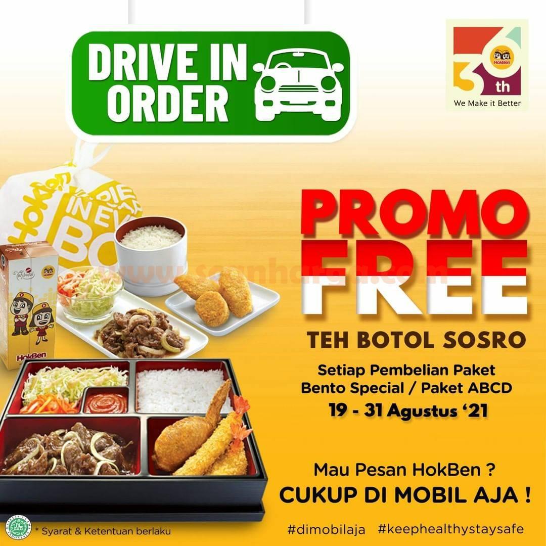 HOKBEN Promo GRATIS Teh Botol Sosro via Drive In Order