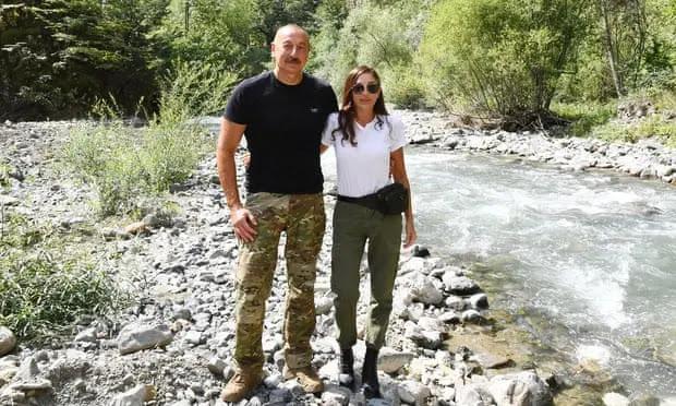 Azerbaijani President Ilham Aliyev and his wife. Photo: Anadolu Agency
