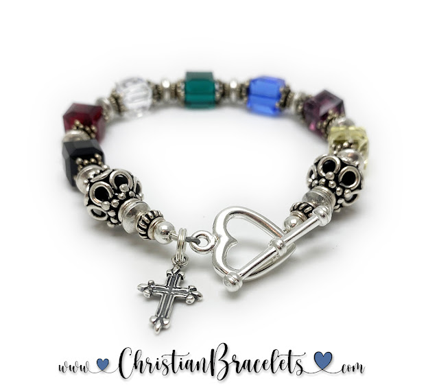 Large Salvation Bracelet with a Fancy Cross Charm and Heart Toggle Clasp