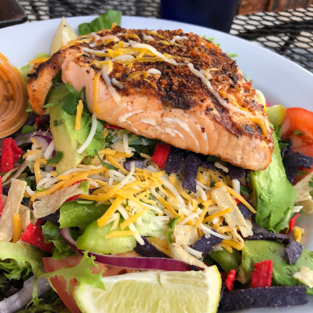 Vibrant and delicious Chili 'N Lime Salmon Salad at Whiskey Ranch.