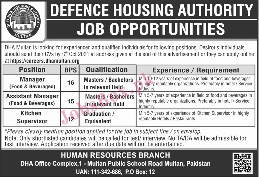 Defence Housing Authority DHA Multan Jobs 2021 – Apply Online
