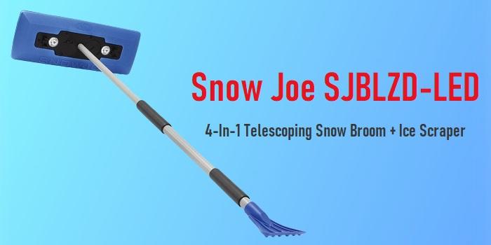 Snow Joe SJBLZD-LED - 4-In-1 Telescoping Snow Broom + Ice Scraper