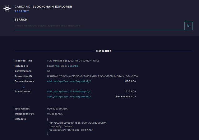 Transaction viewed from official Cardano blockchain explorer website