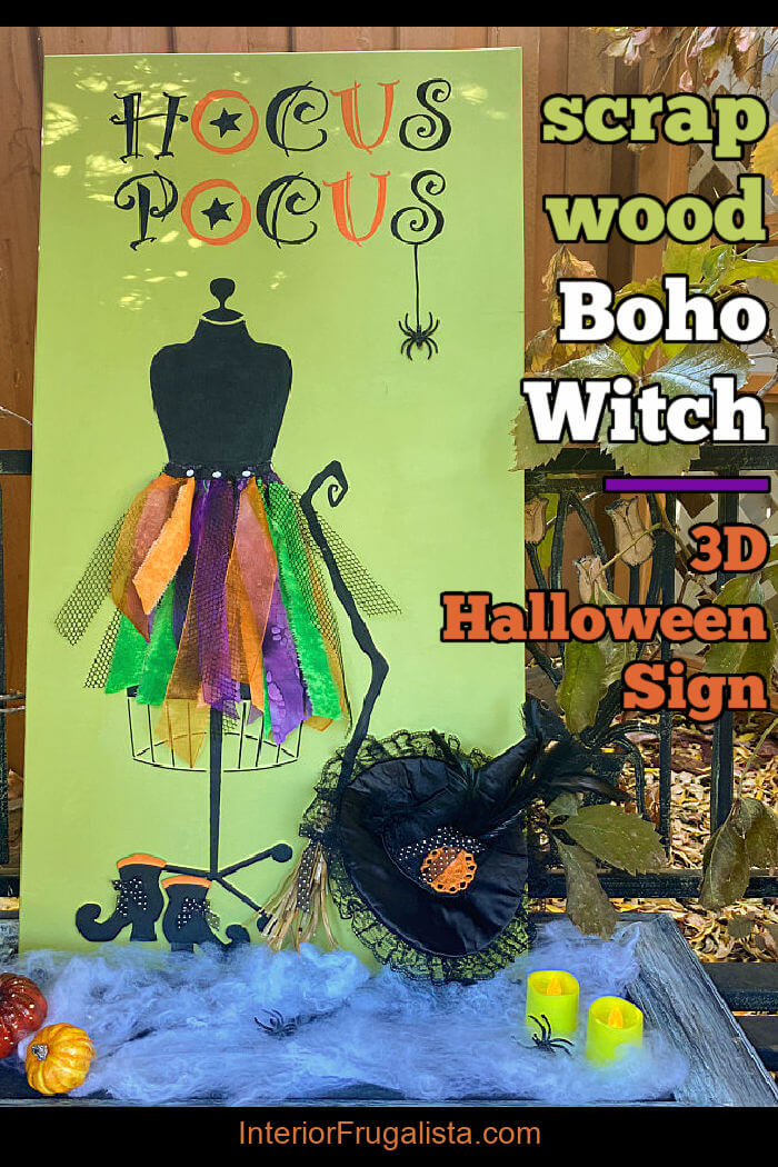 A unique hocus pocus bohemian witch scrap wood 3D halloween porch sign with a colorful rag skirt witch costume on a stenciled mannequin dress form. #diyhalloweensign #woodenhalloweensign #halloweenporchsign #halloweenwitchsign