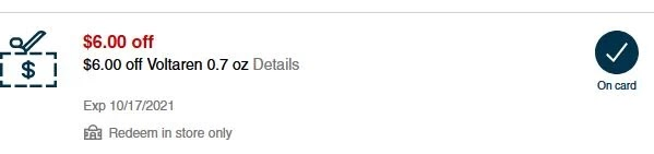 $6.00/1 Voltaren  0.7 oz Only CVS APP MFR Digital Coupon (go to CVS App)