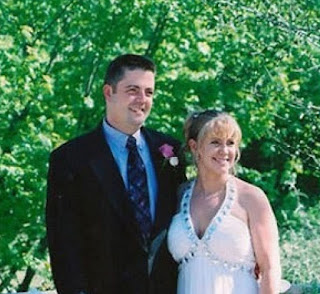 Joseph Jens Price with his spouse Tonya Harding in their wedding dress
