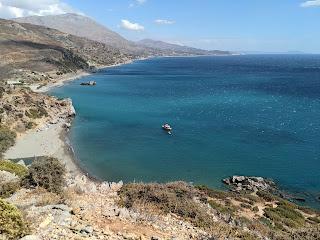 View down on to Preveli Beach, Foinkias Crete.