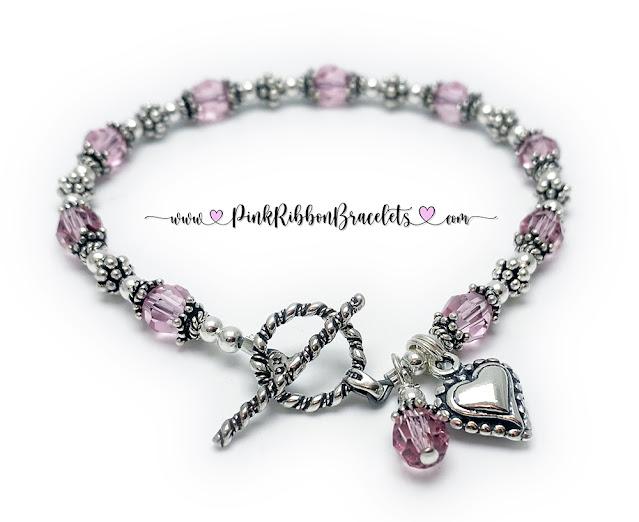 Pink Beaded Heart Bracelet for Breast Cancer Awareness