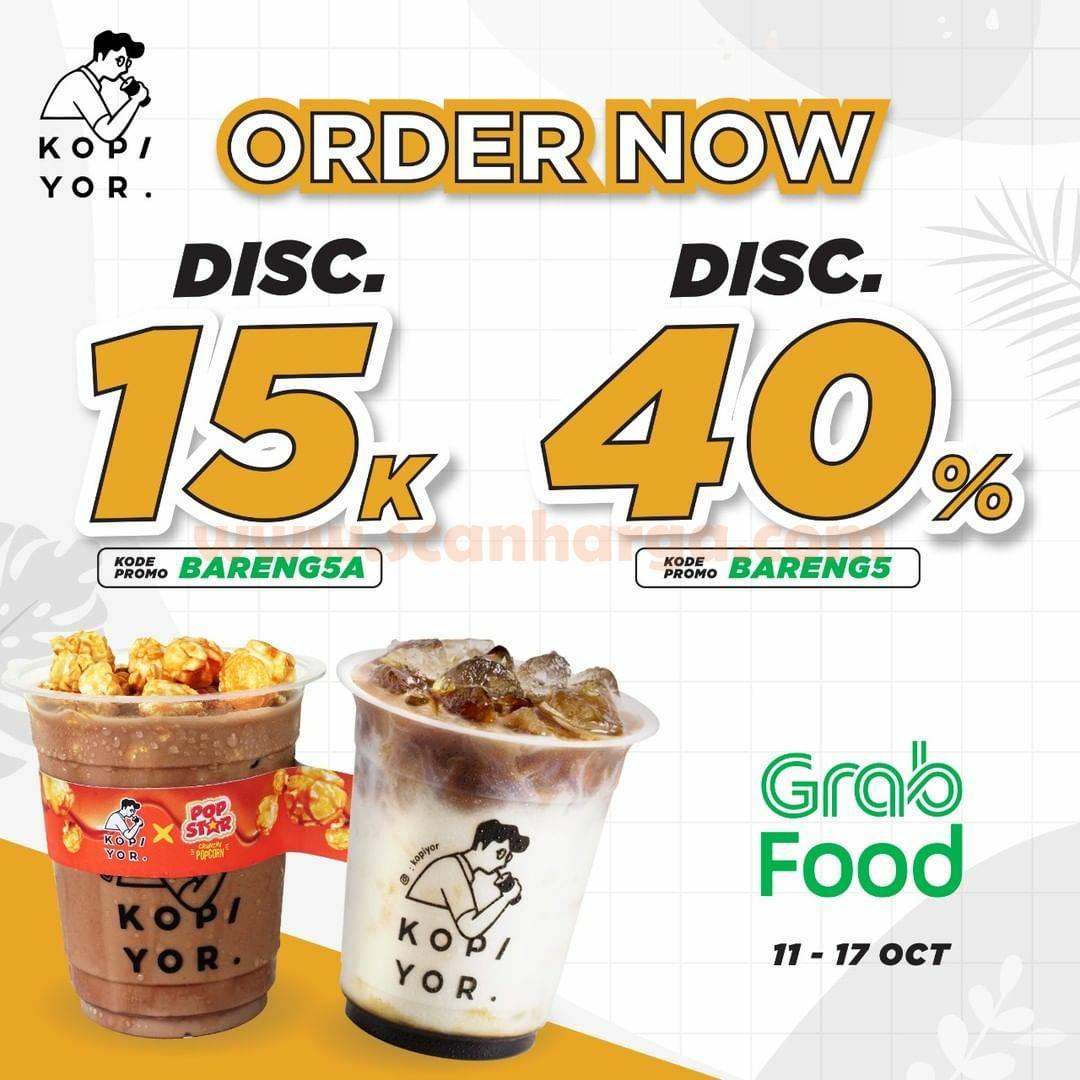 Promo KOPI YOR Diskon 40% via Grabfood